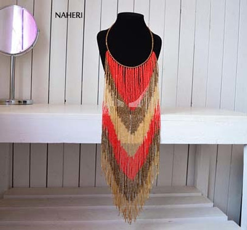 African inspired fringe necklace long red