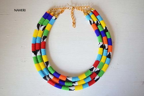 African inspired 3-in-1 necklace maasai zulu jewelry