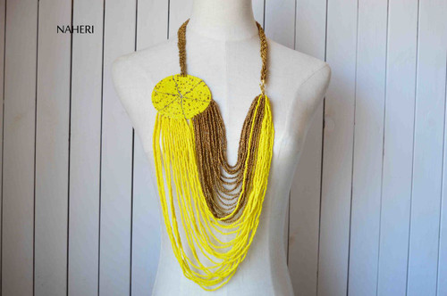 African tribal necklace yellow jewelry
