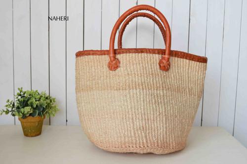 African handwoven handbag sisal and leather beige