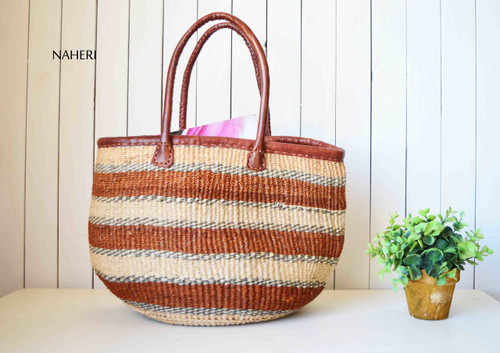 African woven handbag sisal and leather brown stripes