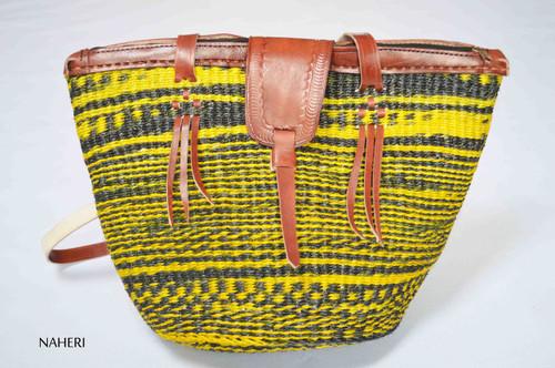 African woven handbag yellow sisal and leather bag