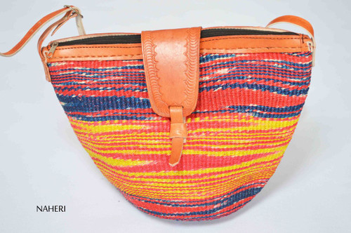 African sisal and leather handbag handwoven yellow red blue