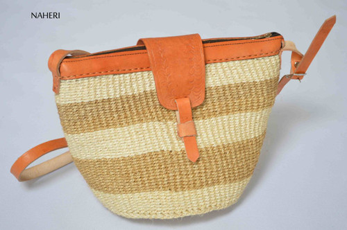 African sisal and leather handbag cross body sling bag