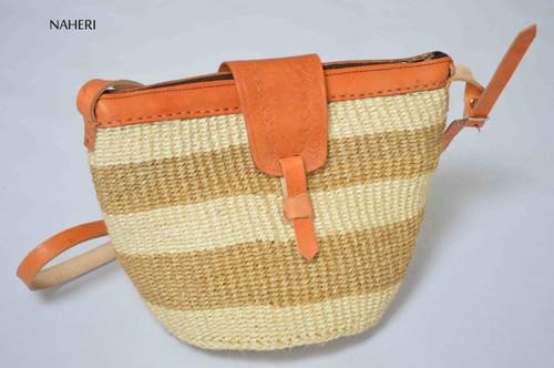 African sisal and leather handbag cross body sling bag