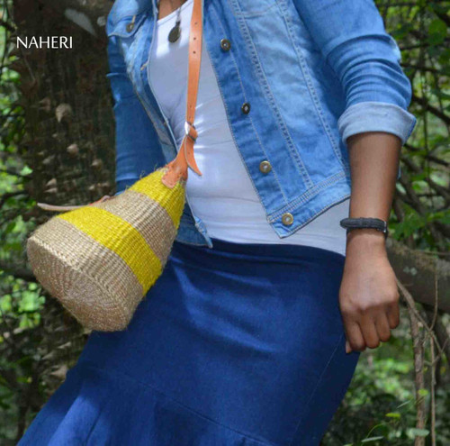 African inspired sisal and leather handbag
