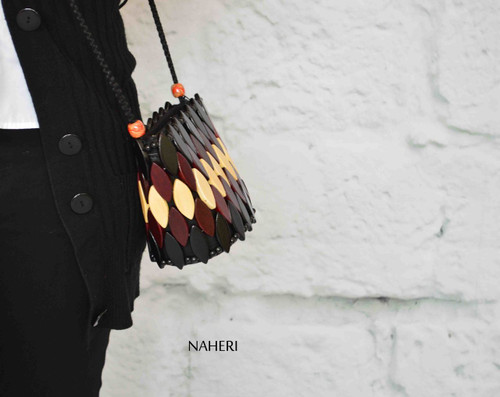 African wooden beads crossbody handbag