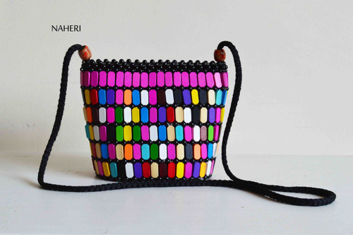 African inspired sling bag wooden beads handbag