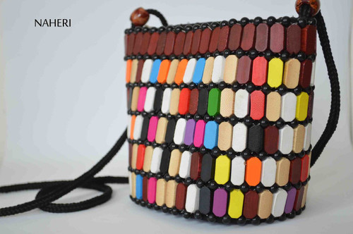 African wooden beads crossbody sling bag