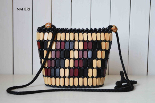 African wooden beads crossbody bag