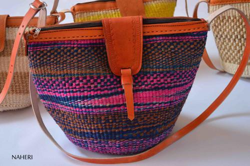 African handbag handwoven sisal bag with leather