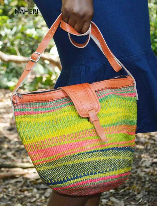 African inspired handbag woven sisal and leather bag