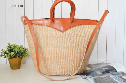 Handwoven sisal and leather basket African inspired