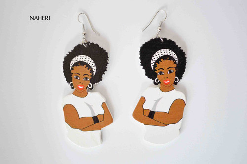 African woman earrings white handmade