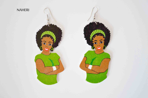 African woman afro earrings green handmade