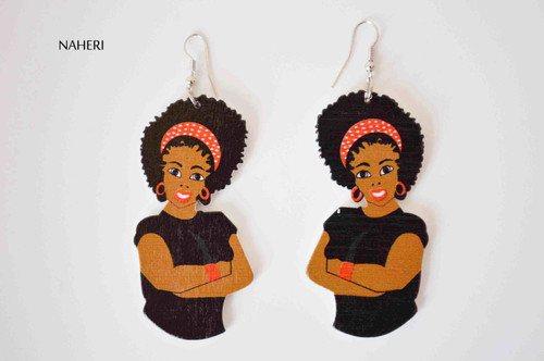 African woman wood dangle earrings black