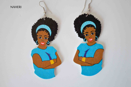 African woman wood earrings blue