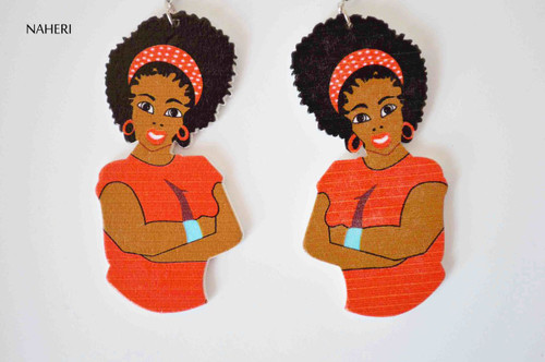 African inspired wood earrings woman afro red
