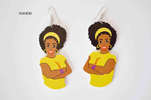 African inspired afro woman earrings yellow