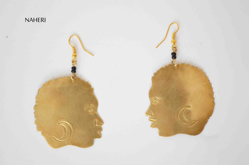 African earrings brass woman bald head