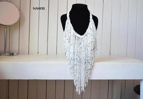 African fringe necklace white handmade jewelry