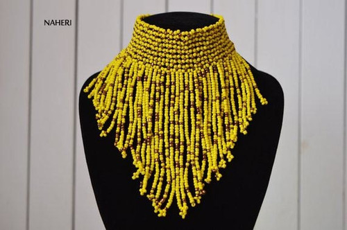 African choker necklace yellow handmade jewelry