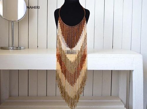 African fringe long necklace brown beaded jewelry