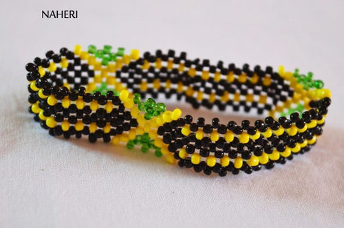 Beaded flag bracelet or wristband Jamaica