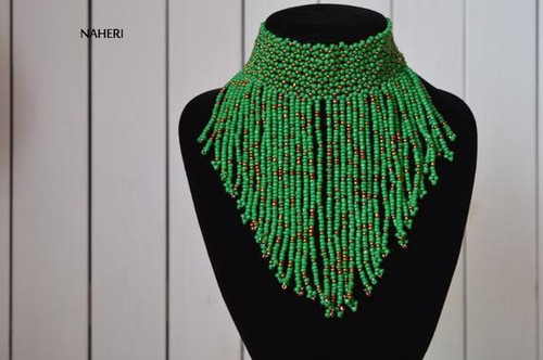 African choker necklace green handmade jewelry