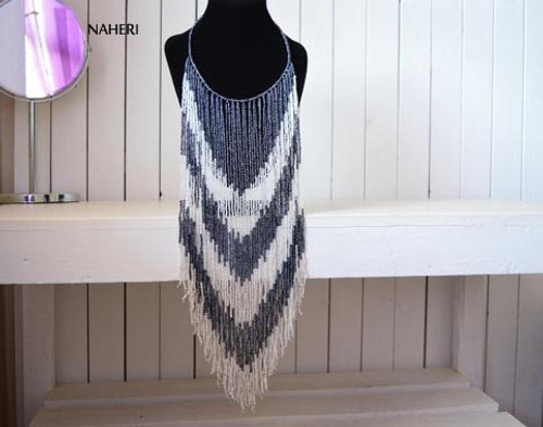 African fringe long necklace hematite and white beaded jewelry