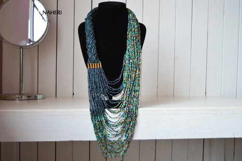 African inspired beaded necklace jungle green