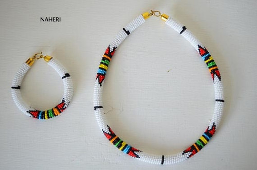 African zulu necklace white with bracelet jewelry