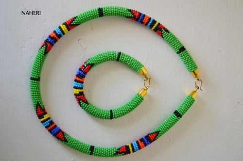 African zulu necklace green with bracelet jewelry