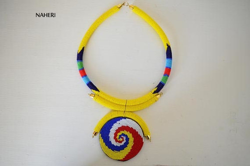 Yellow African Zulu tribal beaded necklace