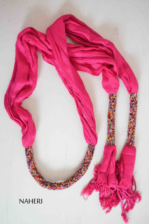 beaded cotton scarf African inspired hot pink