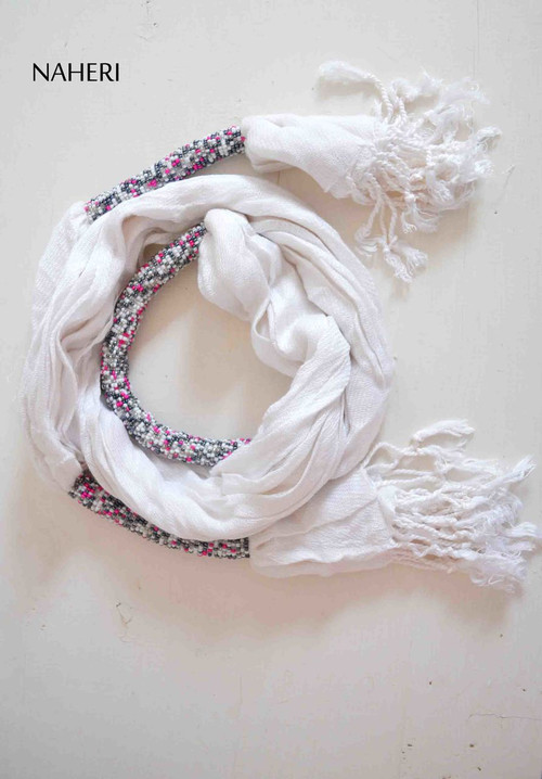 Beaded cotton scarf white African inspired