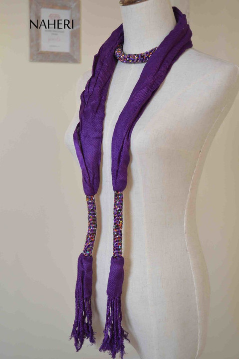 purple beaded cotton scarf African inspired scarf with beads