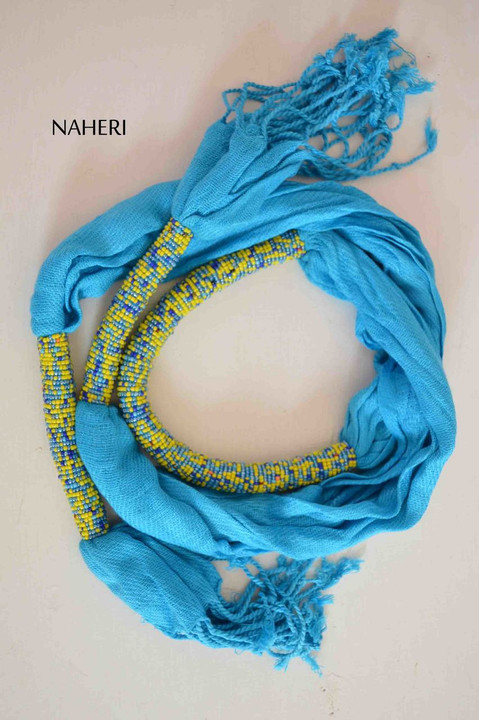 African scarf cotton with beads sky blue