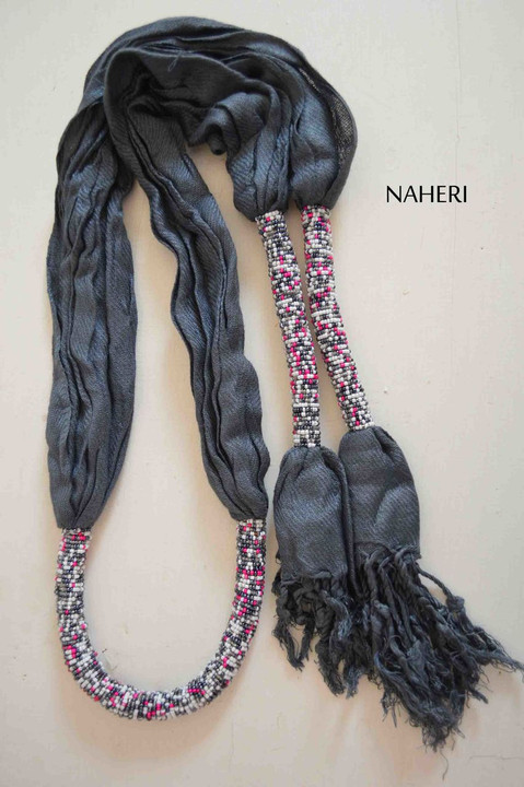 Grey African scarf cotton with beads
