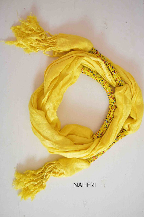 Yellow African scarf cotton with beads