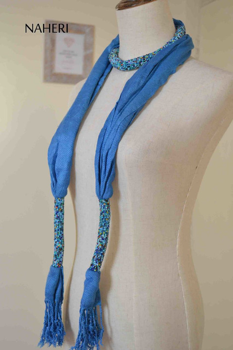 African inspired scarf azure blue beaded scarf