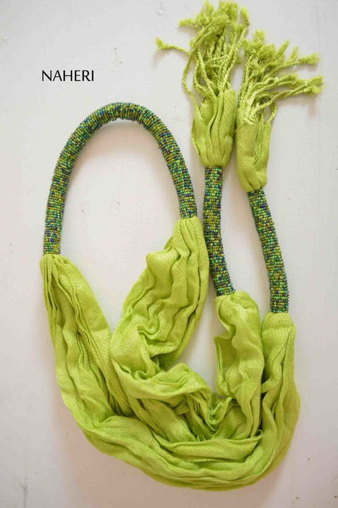 African inspired scarf lime green beaded scarf