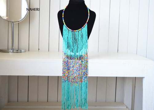 Turquoise African fringe necklace African jewelry