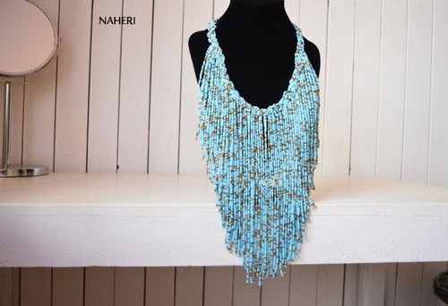 sky blue fringe necklace African jewelry