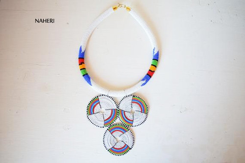 white Zulu beaded necklace African jewelry