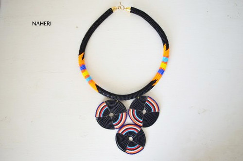 black Zulu beaded necklace African jewelry