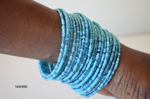 Handmade beaded African inspired bracelets sky blue African jewellery
