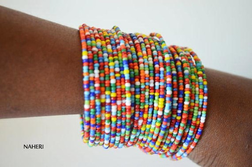 Handmade beaded African inspired bracelets mixed color African jewellery