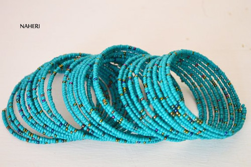 Handmade beaded African inspired bracelets teal blue African jewellery
