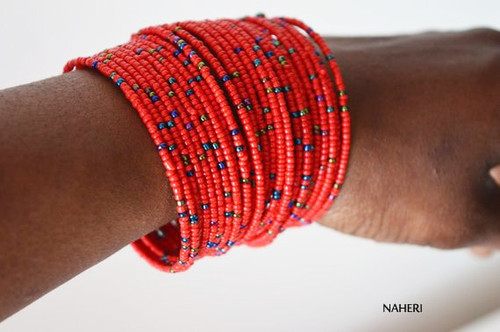 beaded African inspired bracelets red African jewellery